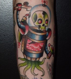 Skull and awesome robbot tattoo