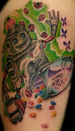 Snacks and funny robbot tattoo