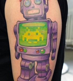 Sweet purple robbot tattoo