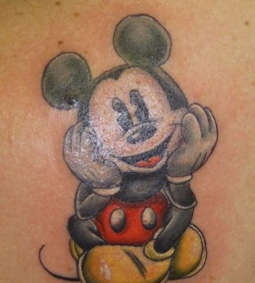 Traditional black Mickey Mouse tattoo on arm