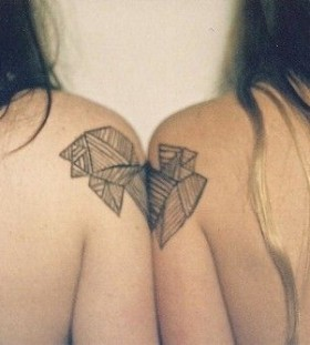 Two women's geometric shoulder, back tattoo