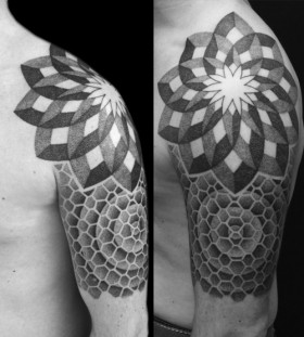 White and black flowers geometric shoulder, back tattoo