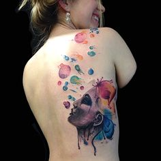 Women back women face and bubbles tattoo