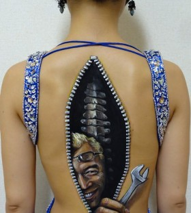 Womens zippered back tatttoo Art by Chooo-San