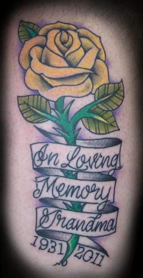 Yellow rose yellow tattoo