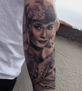 audrey with bird tattoo