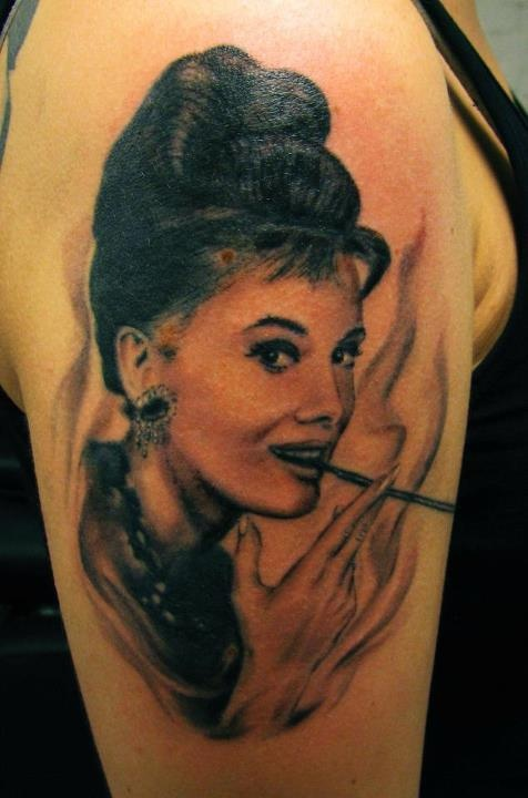 audrey with cigarette tattoo