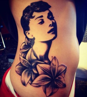 audrey with flower tattoo