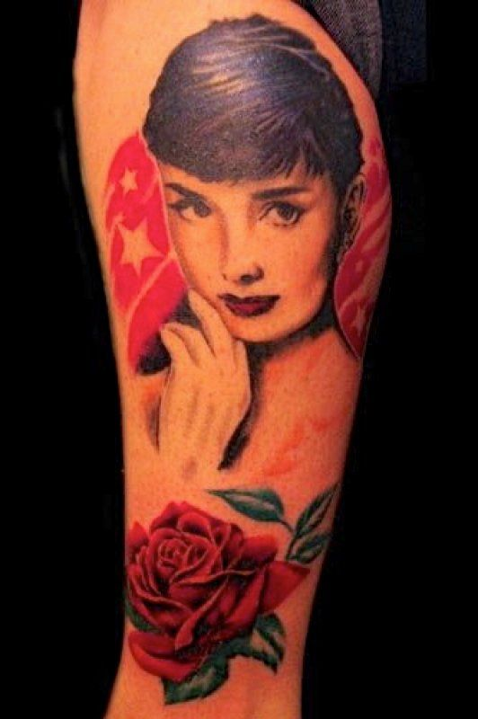 audrey with rose tattoo