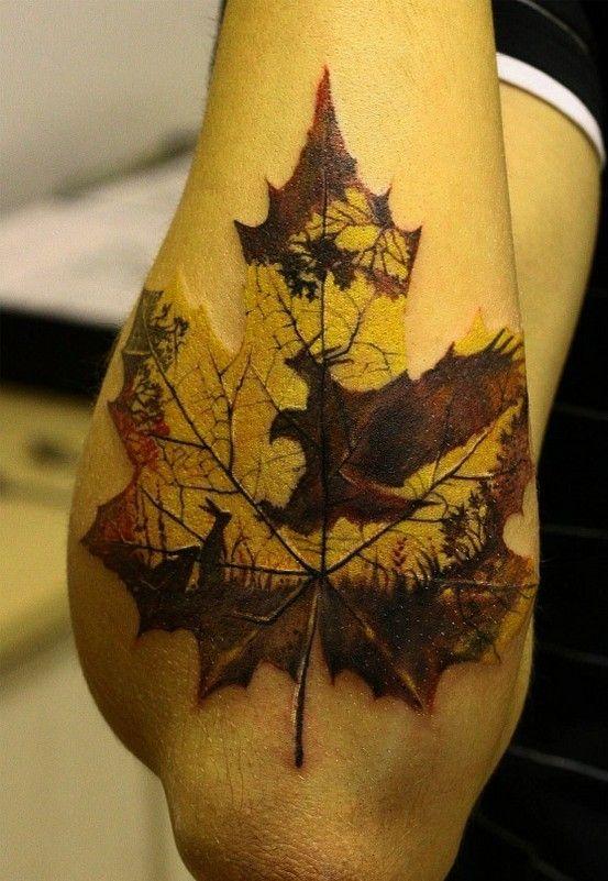autumn leave tattoo on arm
