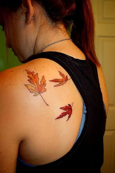 autumn leaves tattoo on the back