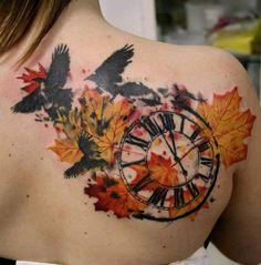 autumn leaves with birds and clock tattoo