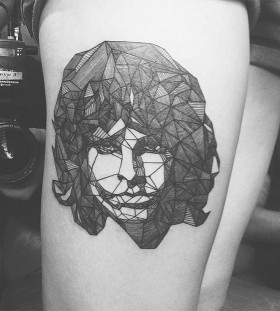 black and white jim morrison tattoo on leg