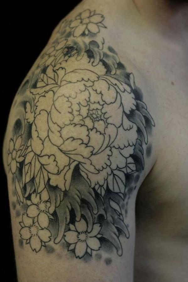 black and white peonies tattoo