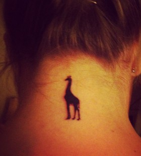 black giraffe tattoo on neck