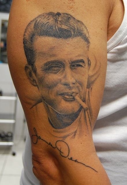 james dean with cigarette tattoo on arm