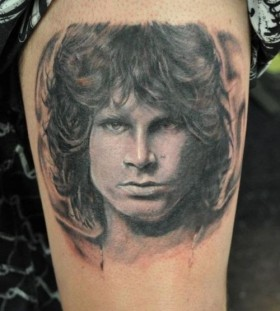 large black and white jim morrison tattoo