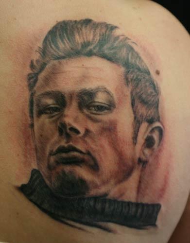 large james dean tattoo on back
