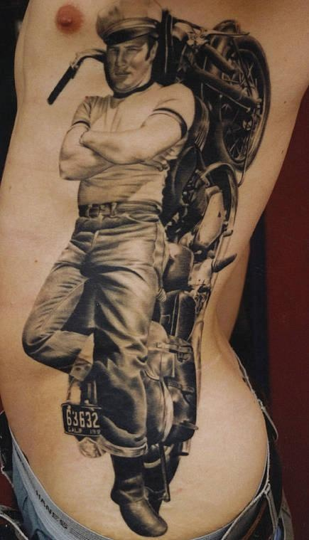 large james dean with motorbike tattoo