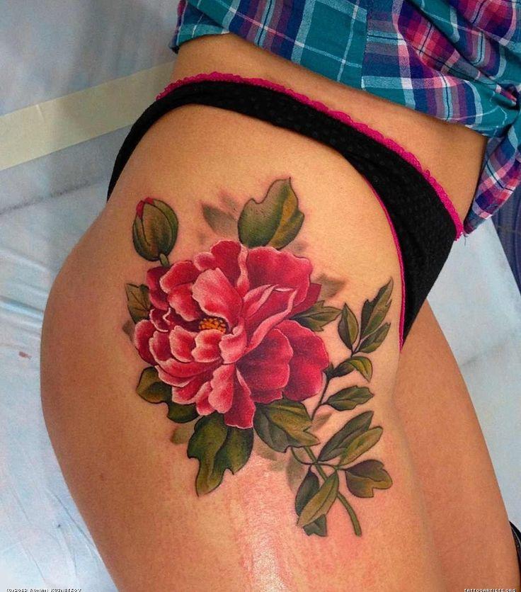 large peony thigh tattoo