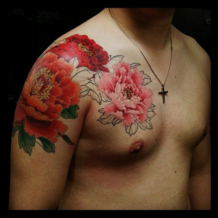 large pink and red peonies tattoo
