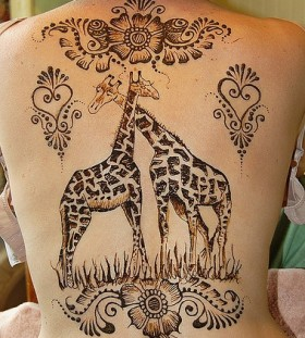 large two giraffes tattoo on back