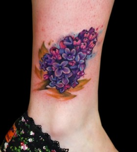 lilac tattoo on ankle