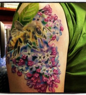 lilac with bee tattoo