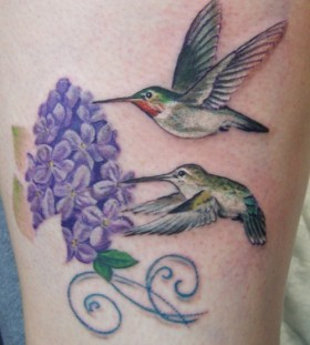 lilac with birds tattoo