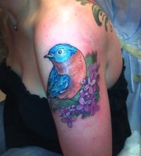 lilac with bluebird tattoo