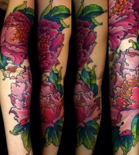 peonies arm tattoo