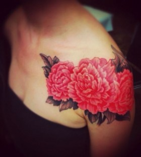 peonies shoulder tattoo