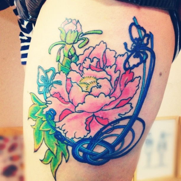 peony thigh tattoo