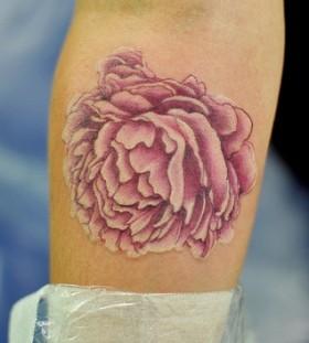 pinik peony arm tattoo
