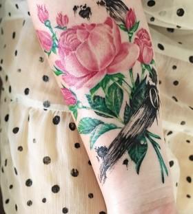 pink peony leg tattoo