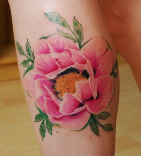 pink peony with leaves tattoo