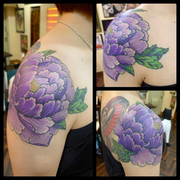 purple peony tattoo