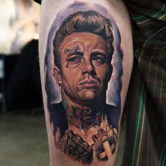 realistic james dean tattoo