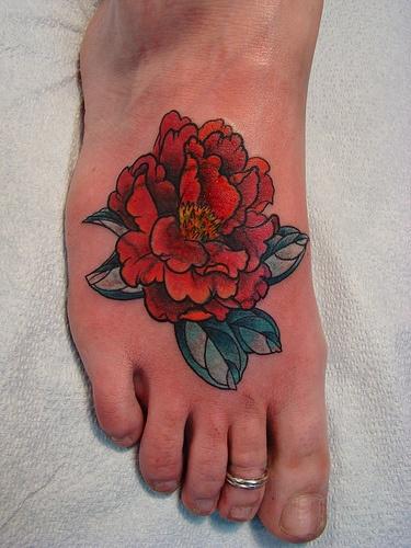 red peony leg tattoo