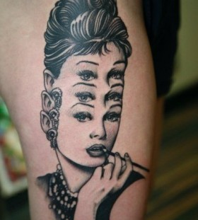 three-faced audrey tattoo