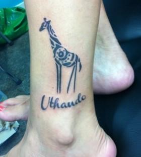 tribal giraffe tattoo