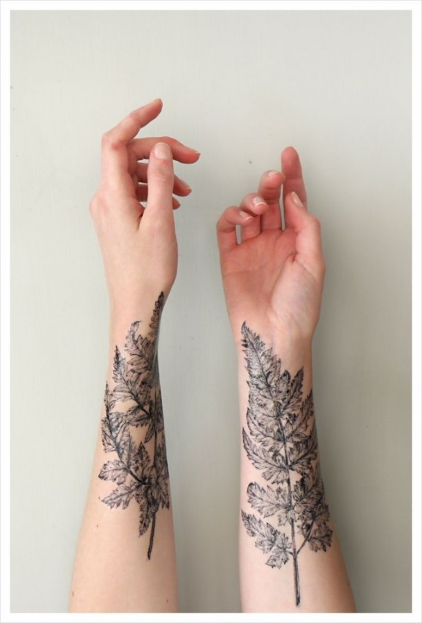two leaves tattoo on both hands
