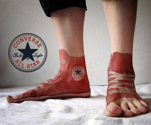 3D All Star shoes on feet tattoo