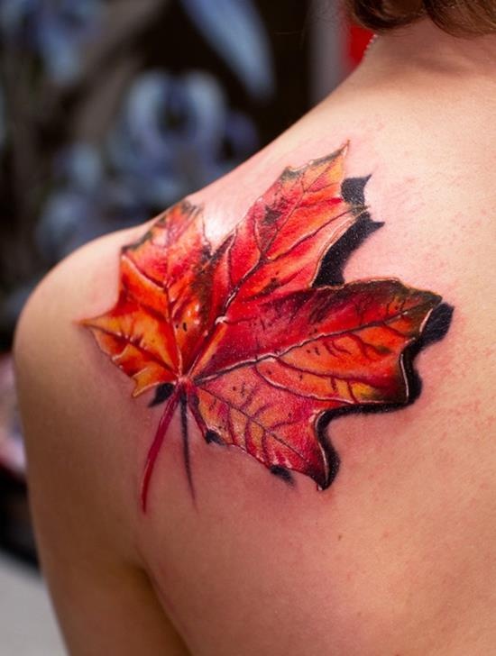 3D Autum leaf on shoulder tattoo