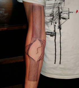 3D broken strings arm tattoo