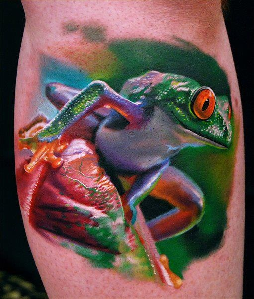 3D frog tattoo by Phil Garcia