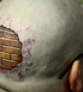 3D hidden brik wall on head tattoo