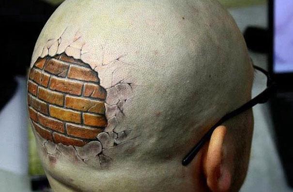 3D hidden brik wall on head tattoo