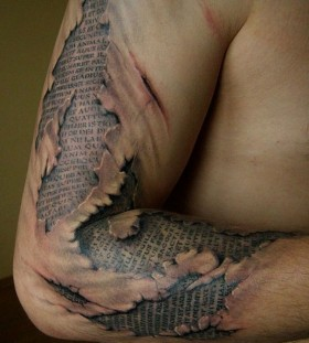 3D hidden text arm sleeve tattoo