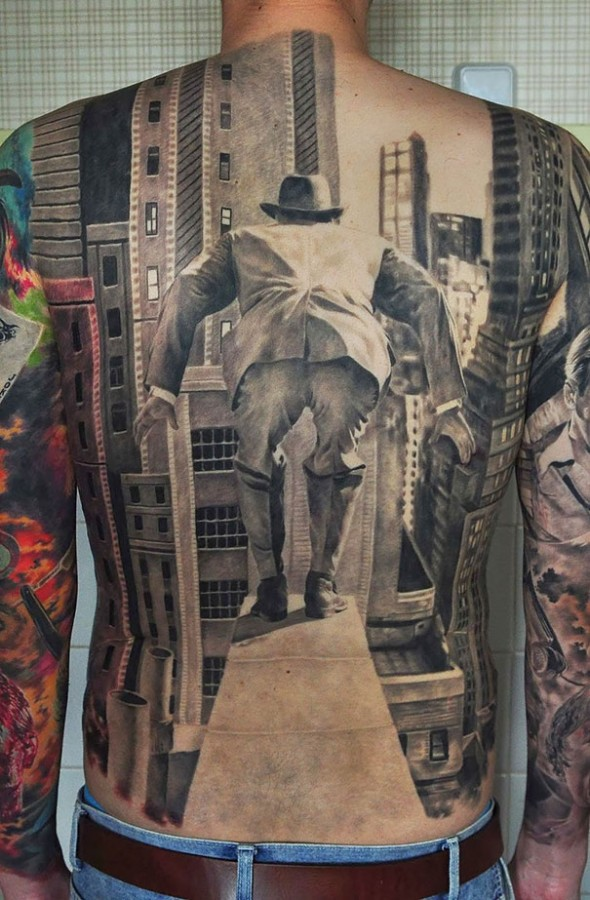 3D man suicide in city back tattoo